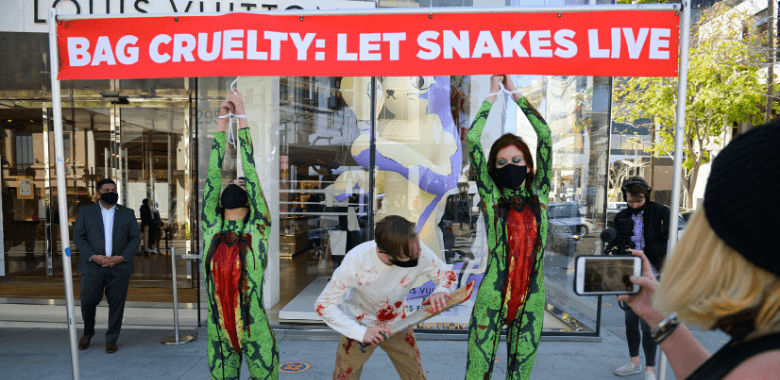 'Skinned Snakes' Protest Louis Vuitton