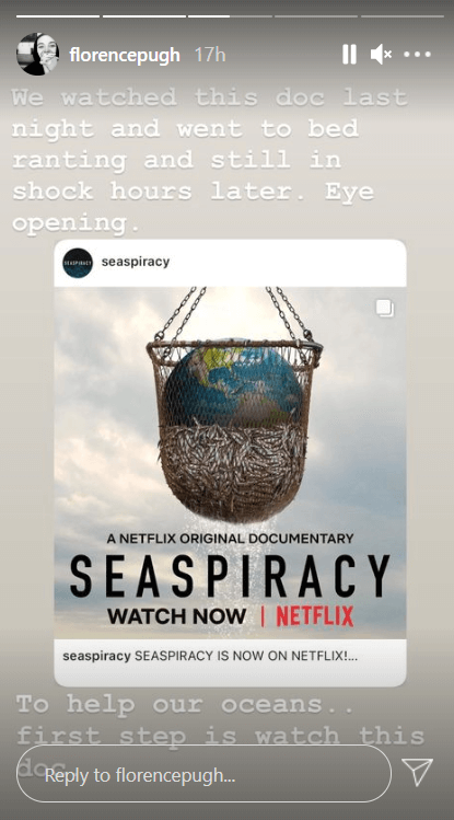Florence Pugh instagram story about Seaspiracy