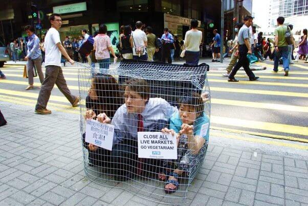 PETA Asia WHO Market Protest
