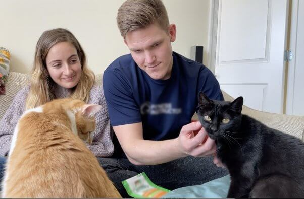 Rescued-cats-Wendy-and-Sherman-with-family