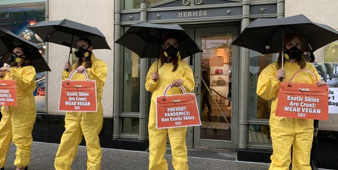 Wearing Hazmat Suits and High Heels, PETA Turns Heads Outside Hermès Store in NYC