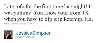 Jessica Simpson Tofu Tweet