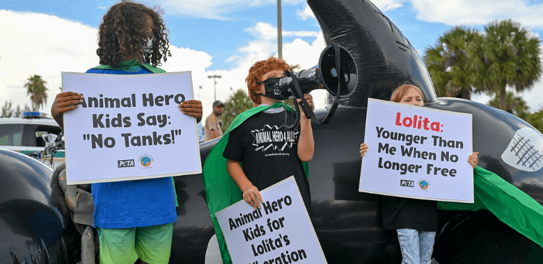 PETA and 'Animal Hero Kids' in Capes 'Fly' to Orca's Rescue