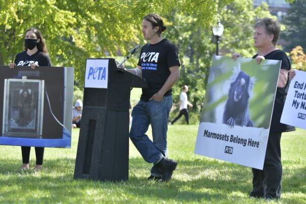 Casey Affleck speaks at University of Massachusetts Amherst press conference with PETA
