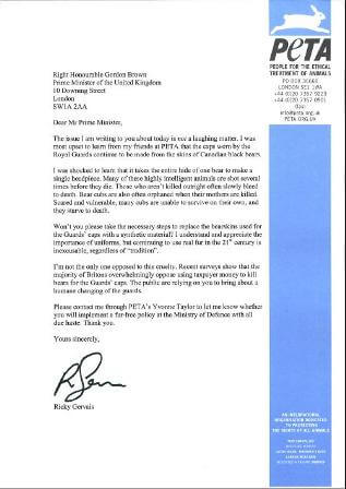 Letter from Ricky Gervais