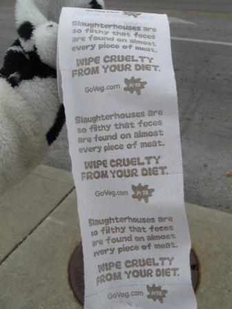 PETA toilet paper demo