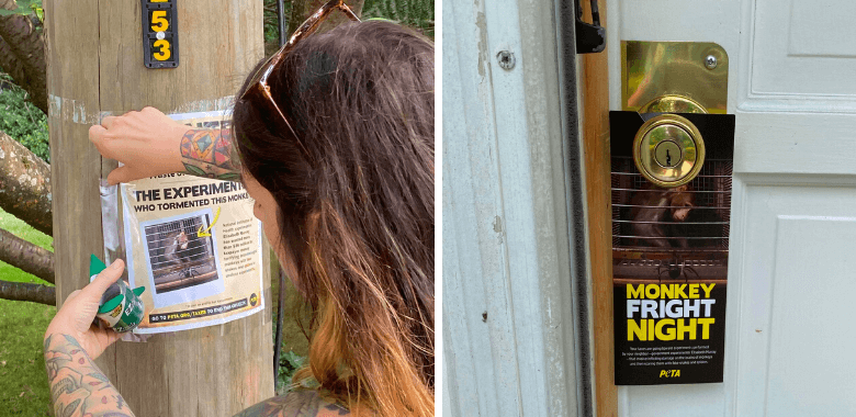 PETA Posts Hundreds of Flyers in Monkey Experimenter's Neighborhood