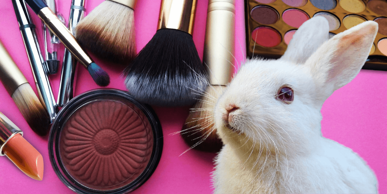 White rabbit surrounded by makeup on pink background