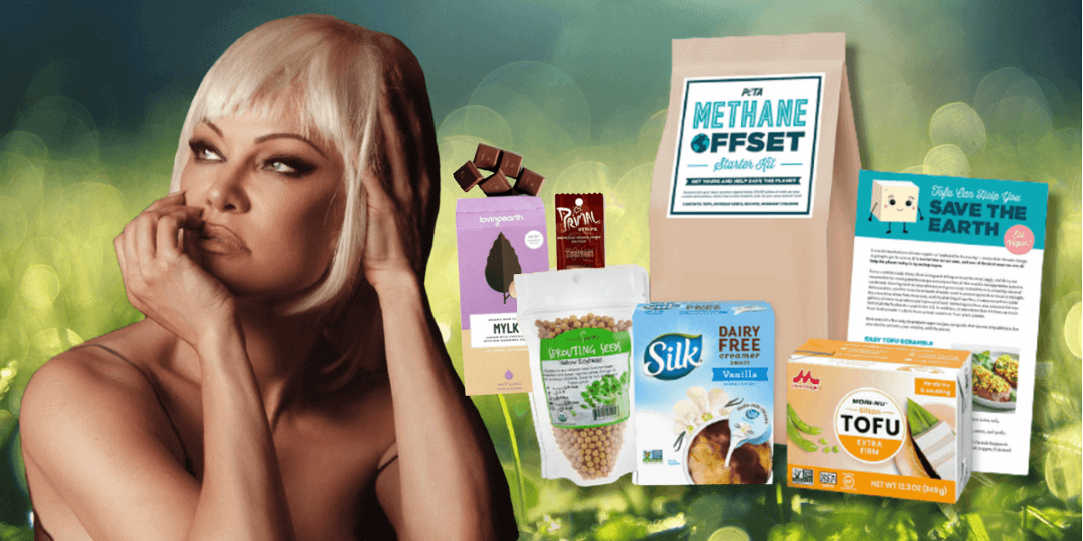 Pamela Anderson with PETA's methane offset kit