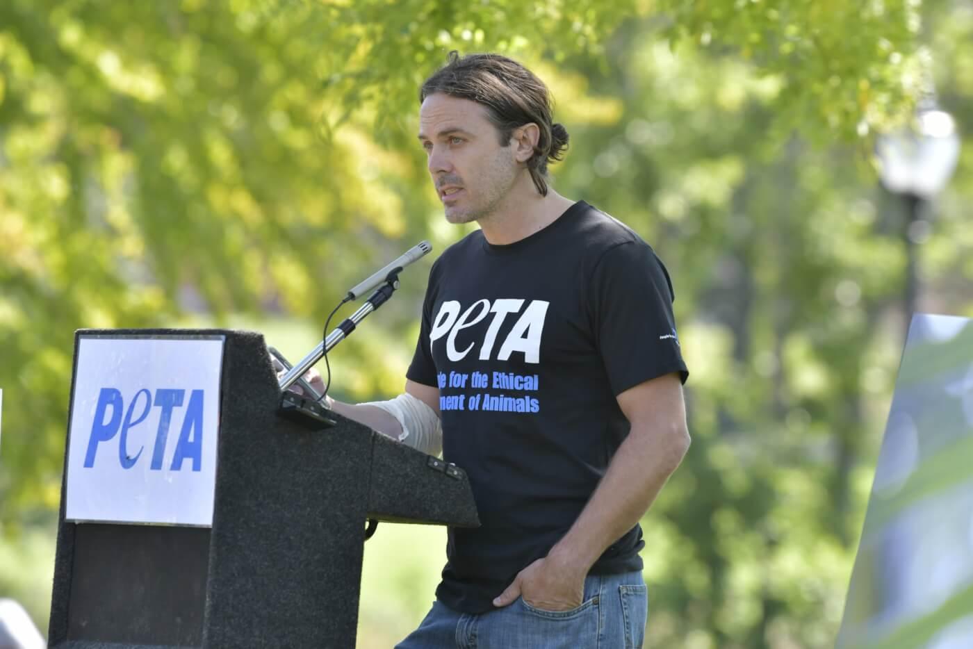 Casey Affleck PETA UMass protest