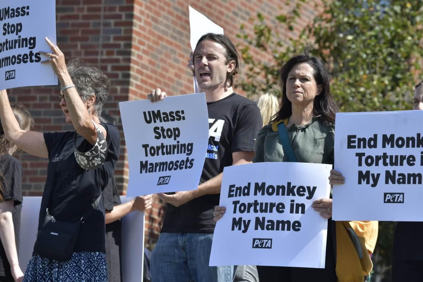 Lisa Lange Casey Affleck PETA protests monkey experiments UMass 2021