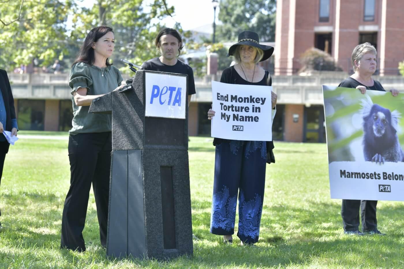 PETA Casey Affleck mom UMass marmoset protest 2021