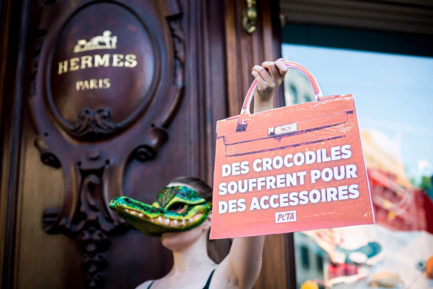 PETA protest Hermes paris crocodile skin 2021