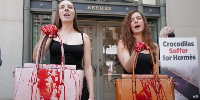 PHOTOS: PETA Members in a Sea of 'Blood' Descend on Hermès in NYC