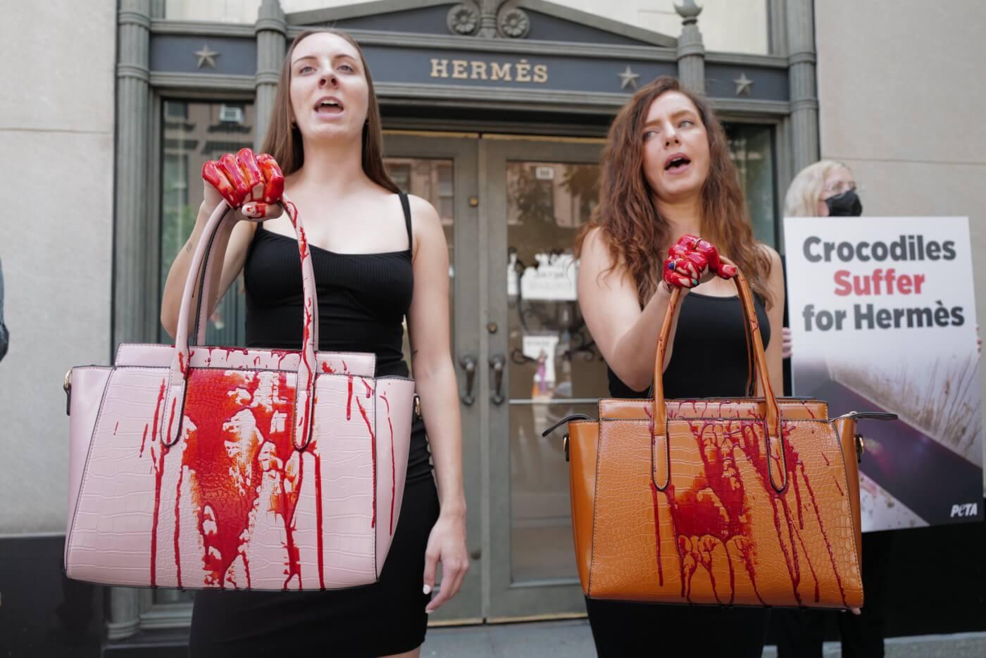 PETA NYC Hermes Protest bloody bags crocodile skins