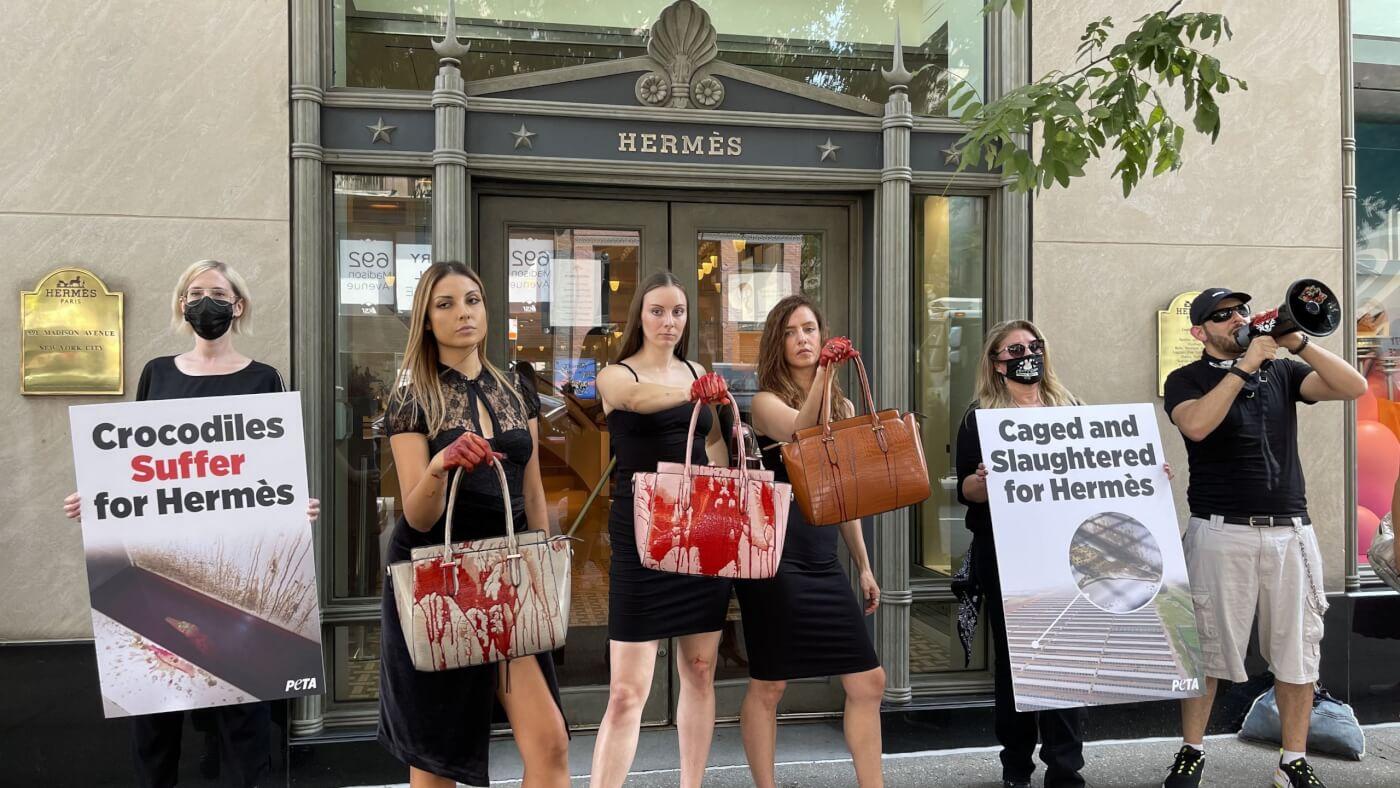 PETA NYC Hermes exotic skin ban protest 2021