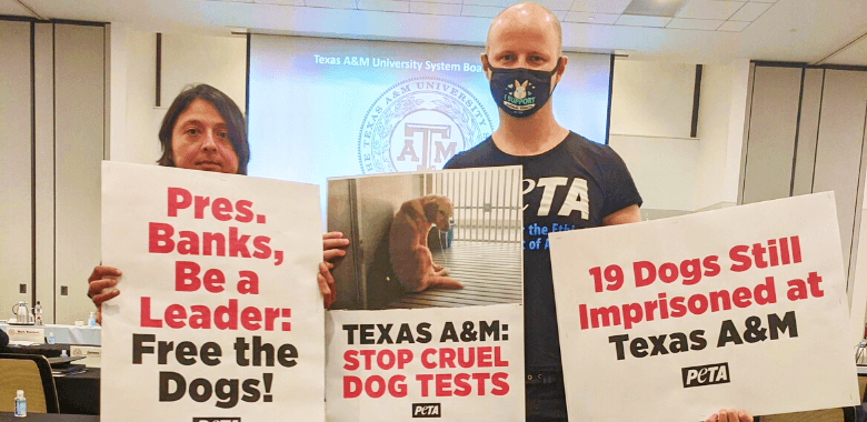 PETA Joins Texas A&M University Board Meeting