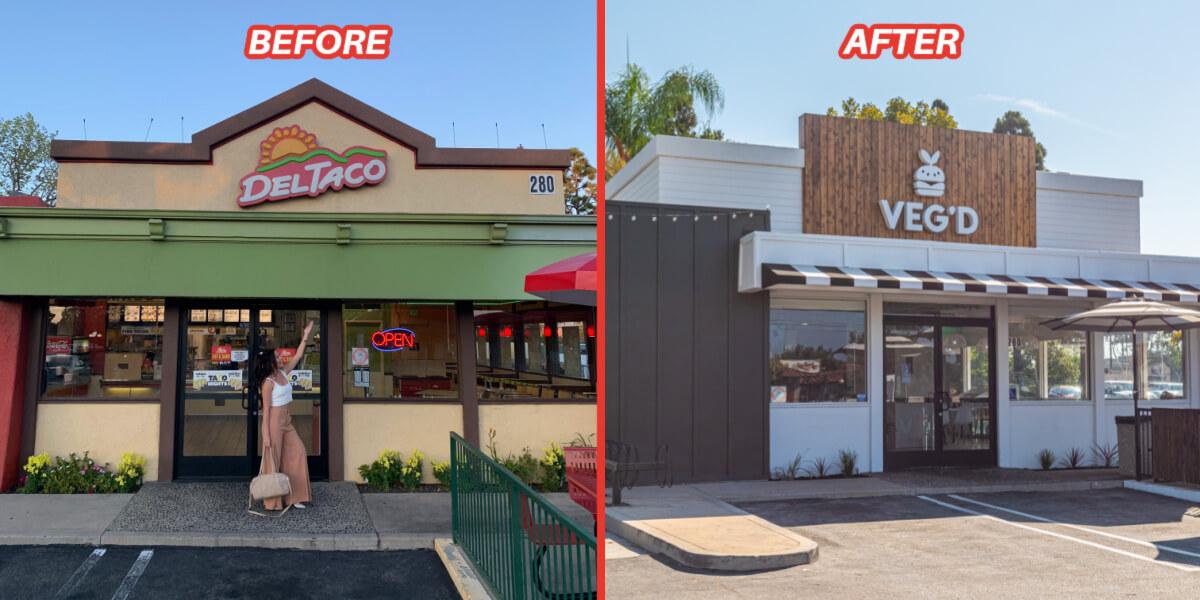 VEG'D Vegan Drive-Through Before and After photos