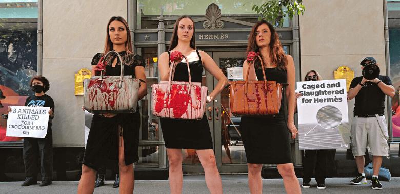 PETA Brandishes 'Bloody' Bags Outside Hermès