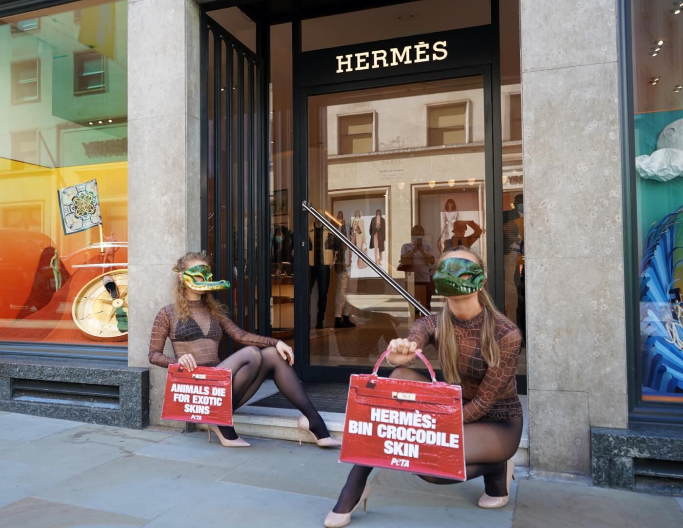 peta protest hermes use of crocodile skin in london