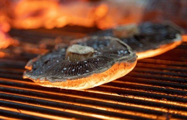 Portobello mushrooms on a grill