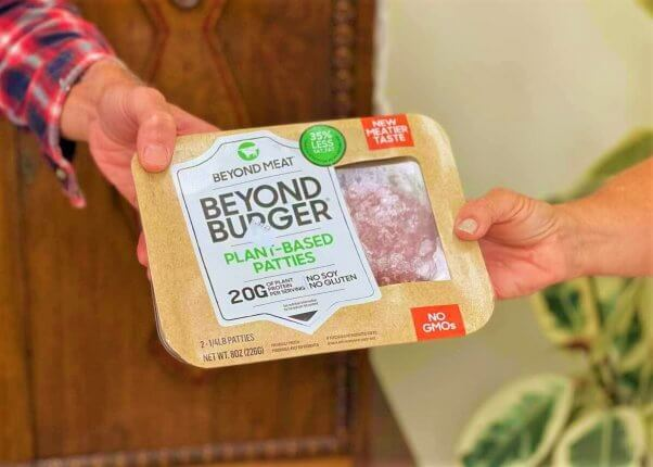 give vegan beyond burgers to someone behind you in line