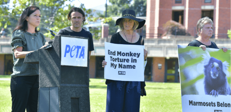 Casey Affleck and His Mom Join PETA Protest at UMass